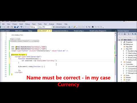 MVC - jQuery - Get value of selected radio button