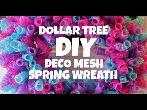Dollar Tree DIY Deco Mesh Spring Wreath Tutorial
