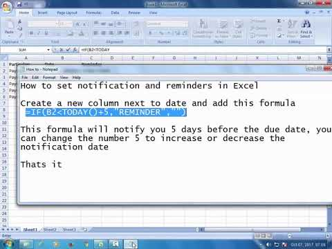 How to set notification and reminders in Excel