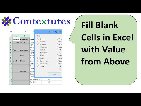Fill Blank Cells in Excel With Value from Above