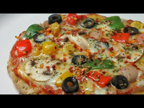 Instant and Easy Homemade Veg Tawa Pizza Recipe/How to make Pizza at home -Pizza Recipe without Oven