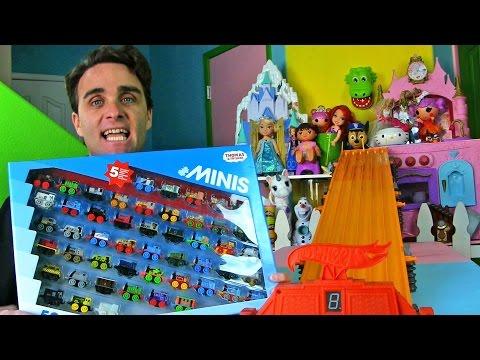 Thomas & Friends MINIS 50-Pack + Hot Wheels Super Six Lane Race !     Toy Unboxing    Konas2002