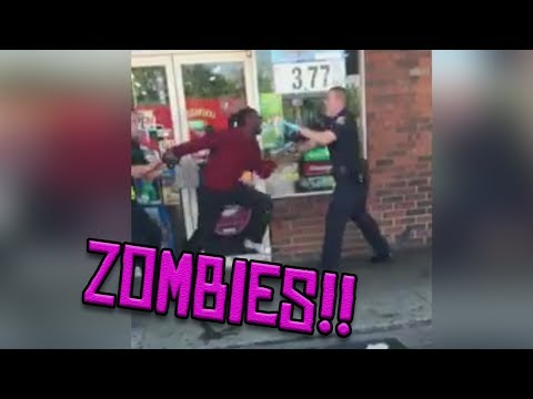 Cops Tase ZOMBIE through a window