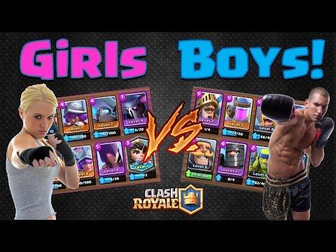 Clash Royale - Girls V's Boys  - who will win!? (No Spells!)