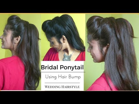 Easy WEDDING Messy Ponytail Hairstyle Using Bumps| Quick volumized Hair-Tutorial For Brides