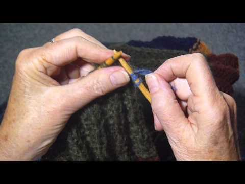WEAVE ENDS IN WHILE KNITTING.