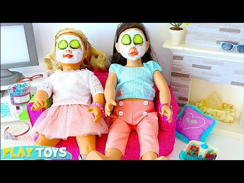 AG Doll Sleepover Slumber Party with Dolls Spa in Dollhouse w/ Bunk bed!