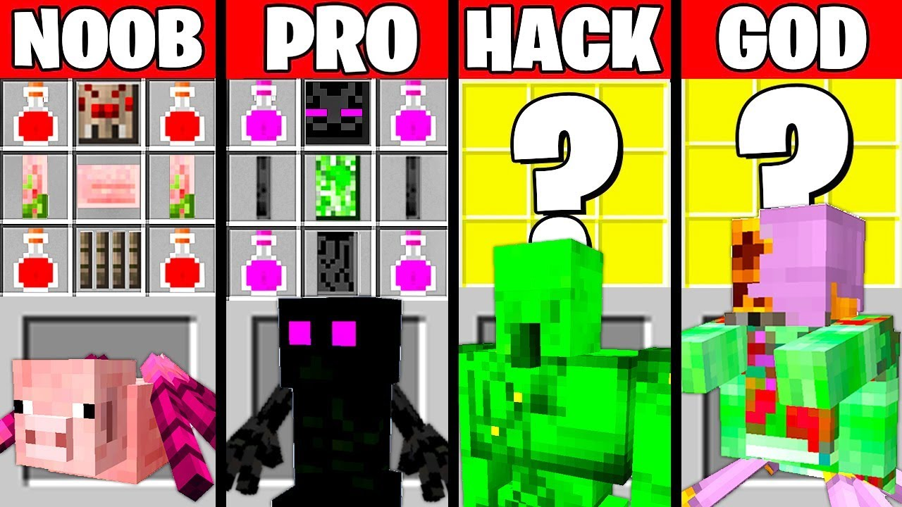 Minecraft Battle: MULTI MOB CRAFTING CHALLENGE - NOOB vs PRO vs HACKER vs GOD ~ Funny Animation