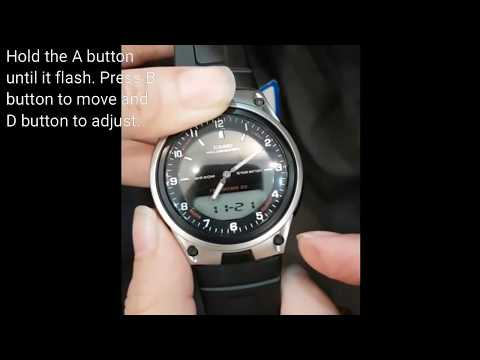 CASIO AW-80-1AVDF how to adjust the digital and analog time