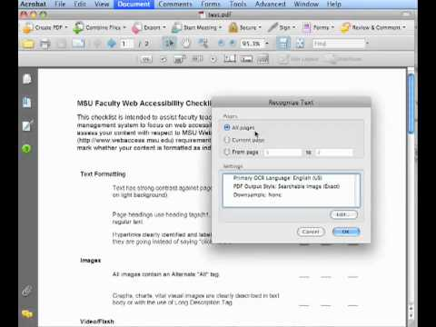 Using Adobe Acrobat to do Optical Character Recognition (OCR)