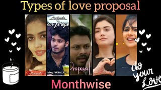 types of love proposal | based on month wise | dusky creation ❤️