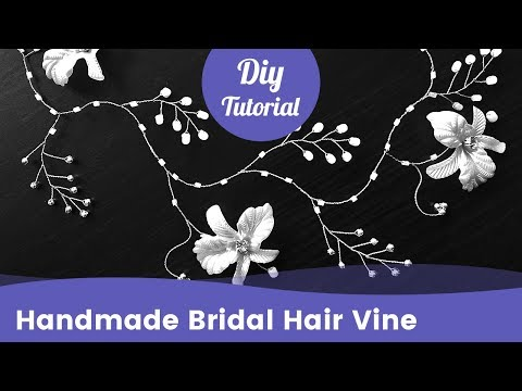 Easy Bridal Hair Vine from Beads & Flowers. Wedding Hair Accessories Ideas.