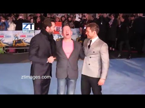 Hugh Jackman, Eddie Edwards, Taron Egerton at the film premiere Eddie the Eagle in London, UK