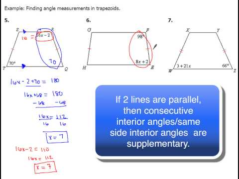 8-5 Trapezoids and Angles