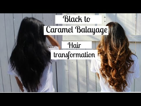 Black to Caramel balayage/ ombre hair transformation