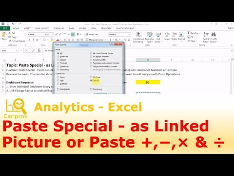 Excel Trick: Paste Special - as Linked Picture or Paste Operations