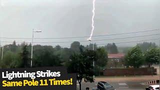 Insane moment lightning strikes same pole 11 times!