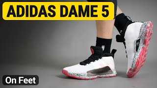 huge selection of d67fe 4050c adidas Dame 5 ( White   Shock Red   Clear Mint ) on feet