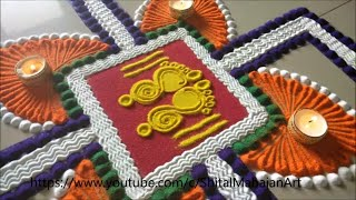 Very easy and attractive swastik rangoli for Diwali| Beautiful rangoli for festival|Pooja rangoli|