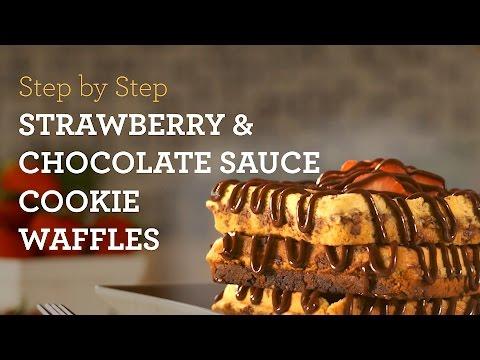 MyCupcakeAddiction's Cookie Waffles w/ Strawberries & Chocolate Sauce