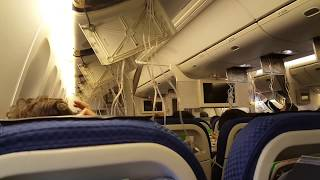 緊急着陸 ANA37便 2017.8.12  酸素マスク落下~緊急降下自動アナウンス~CAアナウンス~キャプテンアナウンス