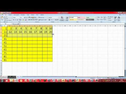 how make a number grid on excel