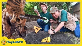 Dinosaur Eggs Challenge! Kids Jurassic World Surprise Toys, Games & Giant Triceratops Escape Plan