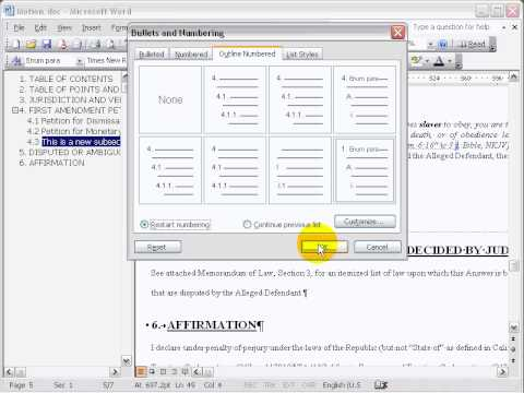 Using Microsoft Word Pleading Templates: MS Word 2003, Support Page Section 9.1