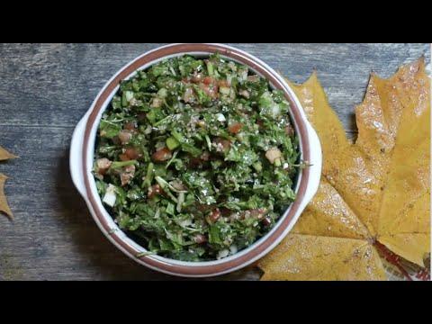 تبولة طريقة اللبنانية  |   how to make a raw vegan Lebanese style tabouleh salad