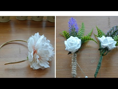 Wedding Accessories: How to make a flower girl headband : How to make a floral button hole