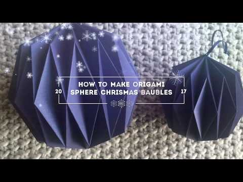 How to make sphere origami Christmas baubles. Free template. Part 2