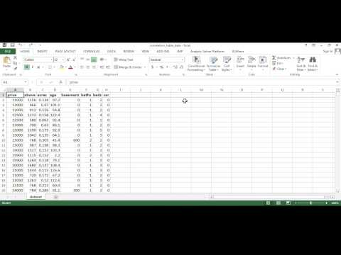 Creating a Correlation Table in Excel
