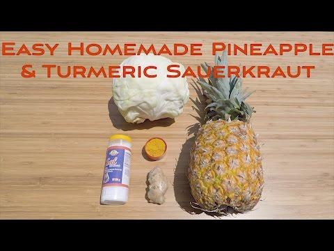 Easy Homemade Probiotic Pineapple/Ginger Sauerkraut
