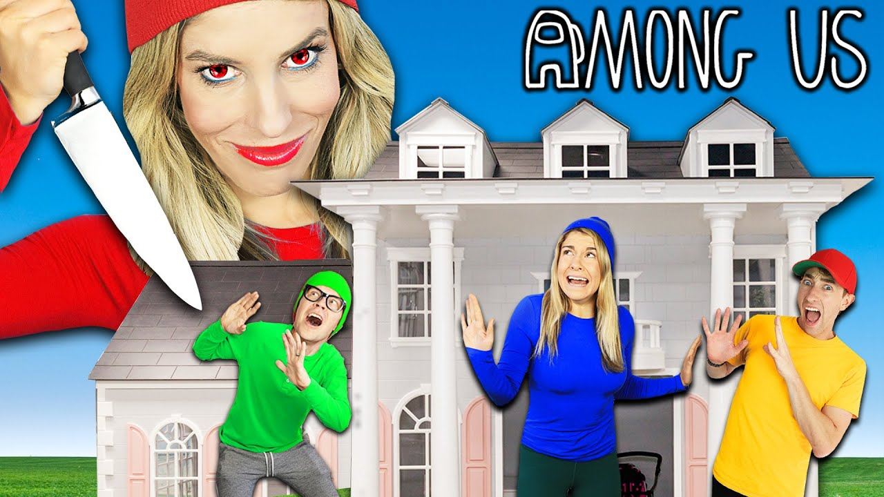 AMONG US in Real Life But In Tiny DOLLHOUSE! Rebecca Zamolo