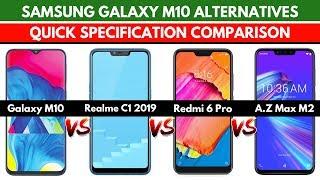 Samsung Galaxy M10 vs Realme C1 vs Redmi 6 Pro vs Asus Zenfone Max M2   Quick Specs Comparison
