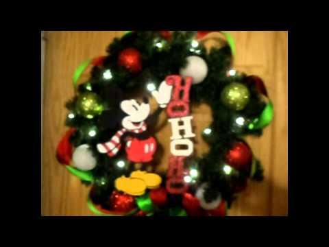 Ho Ho Ho  Classic Mickey Mouse Christmas wreath style 1