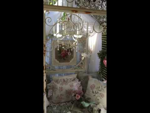 LARGE wrought iron birdcage, Shabby Chic birdcage reading book nook, Ultimate Shabby dog or cat bed!