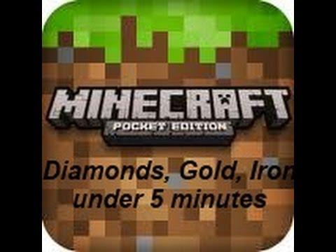 Minecraft Pocket Edition - Find Diamond, Gold, Iron under 5 minutes!