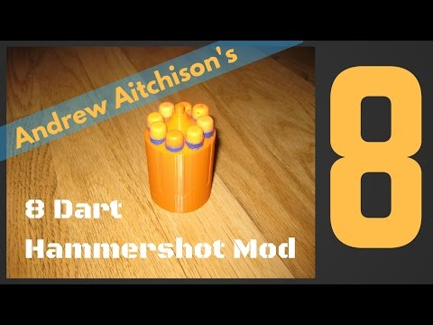 Andrew Aitchison's Amazing Nerf Hammershot 3D Printed 8 Dart Mod Review. Better than 6 or 7!