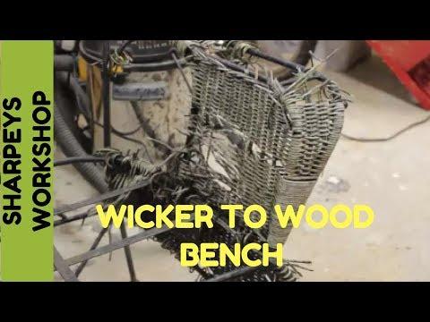 Wicker garden bench makeover