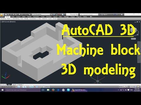 Machine block AutoCAD 3D modeling tutorial   AutoCAD 3D Modeling 14