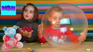 ბუშტები ფერადი ცომისგან, მათე და ნინა ბერავენ ბუშტებს   Crystal Ball   On fait des ballons nous même