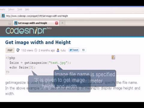 PHP Tutorial : Get image width and Height