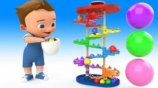 Ping Pong Color Balls Slider Wooden Toy Set 3D - Learning Colors for Children Baby Play Balls Toys