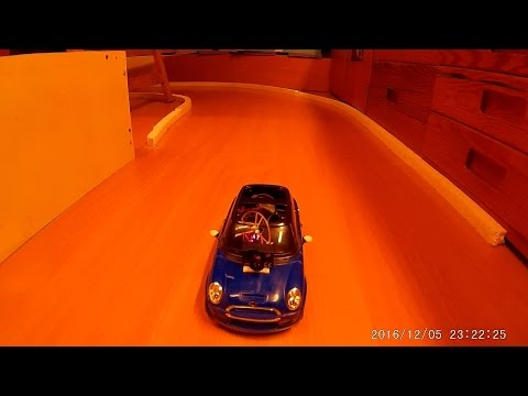 Indoor RC Car FPV with the 'mini'Mini Cooper on my home built track   work on the road in progress