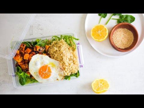 Healthy packed lunch idea: Veggie & sweet potato quinoa salad