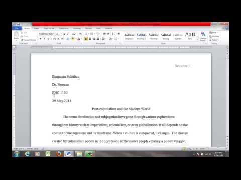 How to Format the MLA Essay in MS Word 2010 - Heading and Title (Video 5)