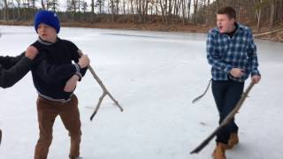 KID GETS MAD!!! ALMOST FALLS THROUGH ICE!!! FIGHTS HIS FRIENDS!!!! MUST WATCH!!!!!