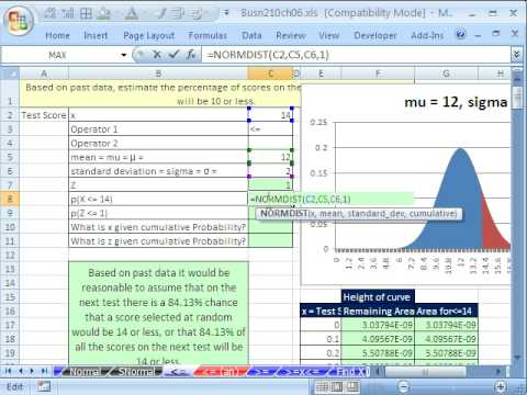 Excel Statistics 69: #1 Normal Probability Excel Functions & Area Charts