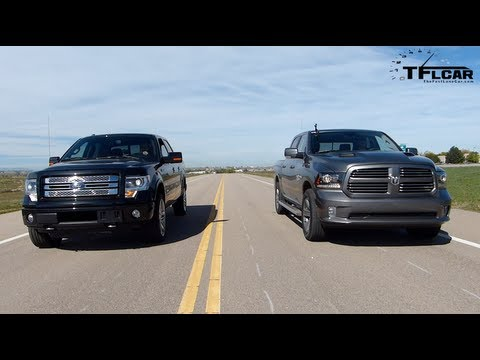 2013 RAM 1500 vs Ford F-150 Drag Race & Burnout Mega Pickup Mashup